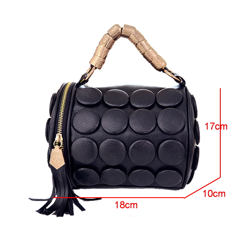 FUNMARDI 2019 Women's Handbags Boston Bags Women Tassel Button Designer Shoulder Bag PU Leather Bucket Bag Crossbody WLHB3024