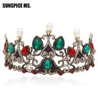 Mujeres coloridas bolas de resina corona jewlery pelo turco cristal chispeante tiaras princesa boda real pelo Hoop diadema hairwear