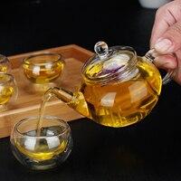 Cinese Tea Set resistente Al Calore di vetro Kung Fu Tea Set teiera tè nero tè di Salute Tè Del Fiore Doppia parete Tazza Mug pot Con filtro
