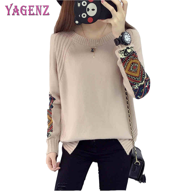 2018 Autumn And Winter Women Knitted Pullover 2018 High Quality Low Round  Neck Loose Plus Size