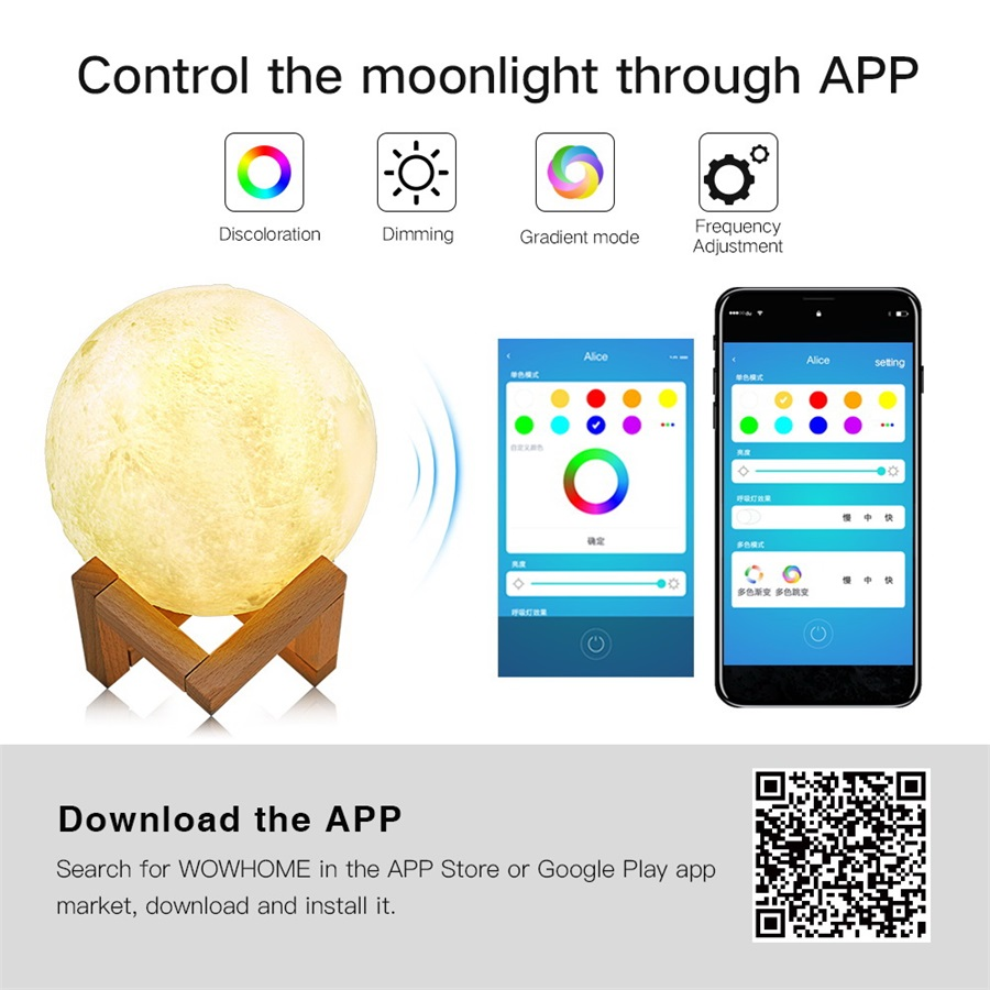 Image 5 - 3D Printed Moon Lamp Wifi App Control Smart Voice Control Compatible with Amazon Alexa USB Charging Colorful Night Light-in LED Night Lights from Lights & Lighting
