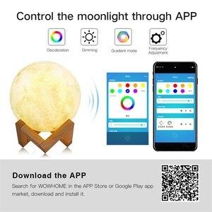 Image 5 - 3D מודפס ירח מנורת Wifi App שליטה חכם קול שליטה תואם עם אמזון Alexa USB טעינה צבעוני לילה אור