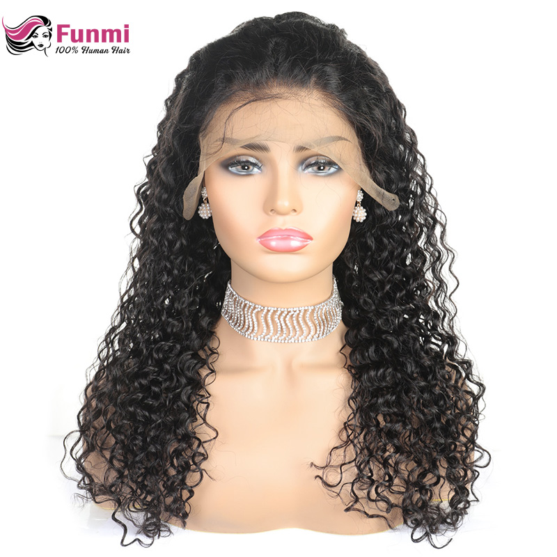 Funmi Mongolian Kinky Curly Human Hair Wig With Pre Plucked Hairline For Women Remy 4*4 Lace Front Human Hair Wigs Baby Hair