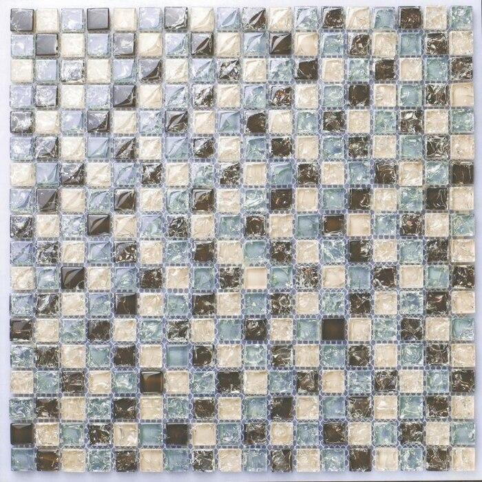 Bathroom Tiles Mosaic Border: Mini Square Brown Blue & Beige Color Crakle Glass Mosaic