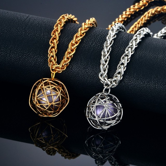 Hollow ball pendant necklaces adjustable rope chain goldsilver hollow ball pendant necklaces adjustable rope chain goldsilver color hip hop chain necklace for aloadofball Images
