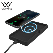 все цены на XMXCZKJ Universal Car Qi Wireless Charger Smartphone Desk Fast Charging Mat Silicone Mobile Cell Phone Holder For iPhone X Stand онлайн