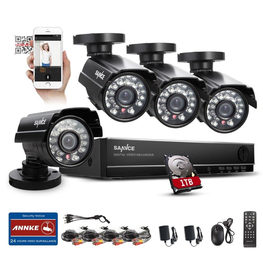 2016 SANNCE Home font b Security b font 8CH 960H HDMI DVR 4PCS 800TVL Outdoor CCTV