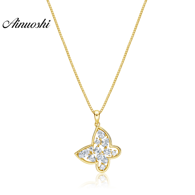 AINUOSHI 10K Solid Yellow Gold Pendant Lovely Butterfly Pendant SONA Diamond Women Men Jewelry Cute Animal 1.7g Separate PendantAINUOSHI 10K Solid Yellow Gold Pendant Lovely Butterfly Pendant SONA Diamond Women Men Jewelry Cute Animal 1.7g Separate Pendant