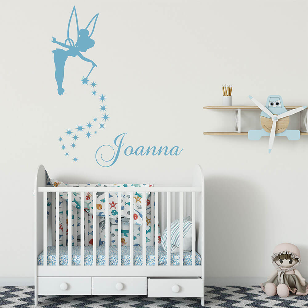 Fairy and Personalized Name Wall Stickers Fairy Girl Wall Decals Baby Nursery Decor Custom Vinyl Wall Art For Children 743C