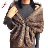 FEITONG Mode Pashmina 2018 Winter Warm Vrouwen Elegante Bruids Faux Fur Lange Sjaal Stola Wrap Schouderophalen Sjaal
