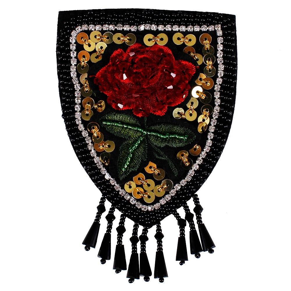 10piece Beaded Crystal Rose Badge Sequin Beading Fringe Tassel Shoulder Patches Applique DIY Emblem Clothes Decorated