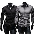 Camisas Promotion Hot!men's Full Solid Casual Shirt Slim Fit Long Sleeve Men Shrits 2016 New Leisure mens clothing Free Shipping