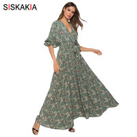 Siskakia Elegant Women Long Dress Summer 2019 V Neck Half Sleeve Slim Swing Maxi Dresses Dark Green Floral BOHO Dress Vocation