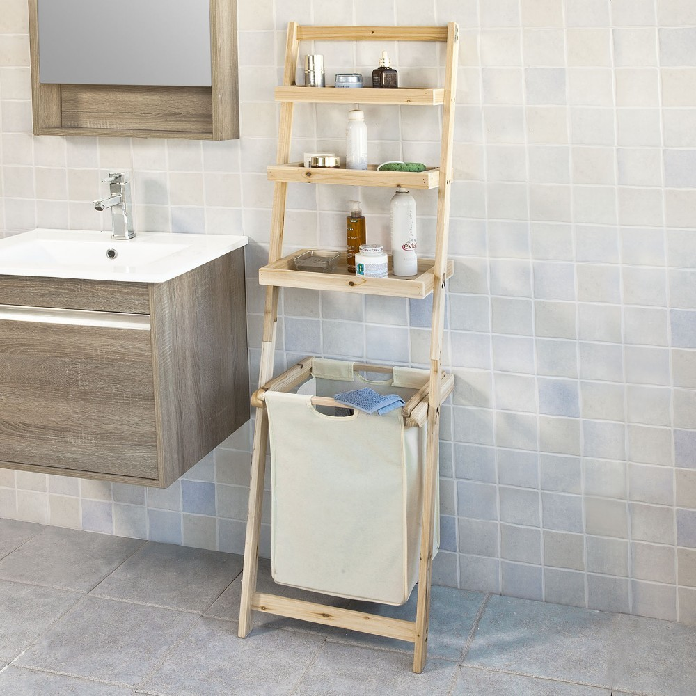 SoBuy FRG160-N, Bathroom Storage Ladder Shelf With 3 Storage Shelves &1 Removable Laundry Basket