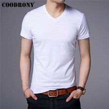 COODRONY Cotton Short Sleeve T Shirt Men Streetwear Classic All-Match Tshirt Summer Casual Solid Color V-Neck T-Shirt Men S95090 snap fastener embellished color spliced v neck short sleeves t shirt for men
