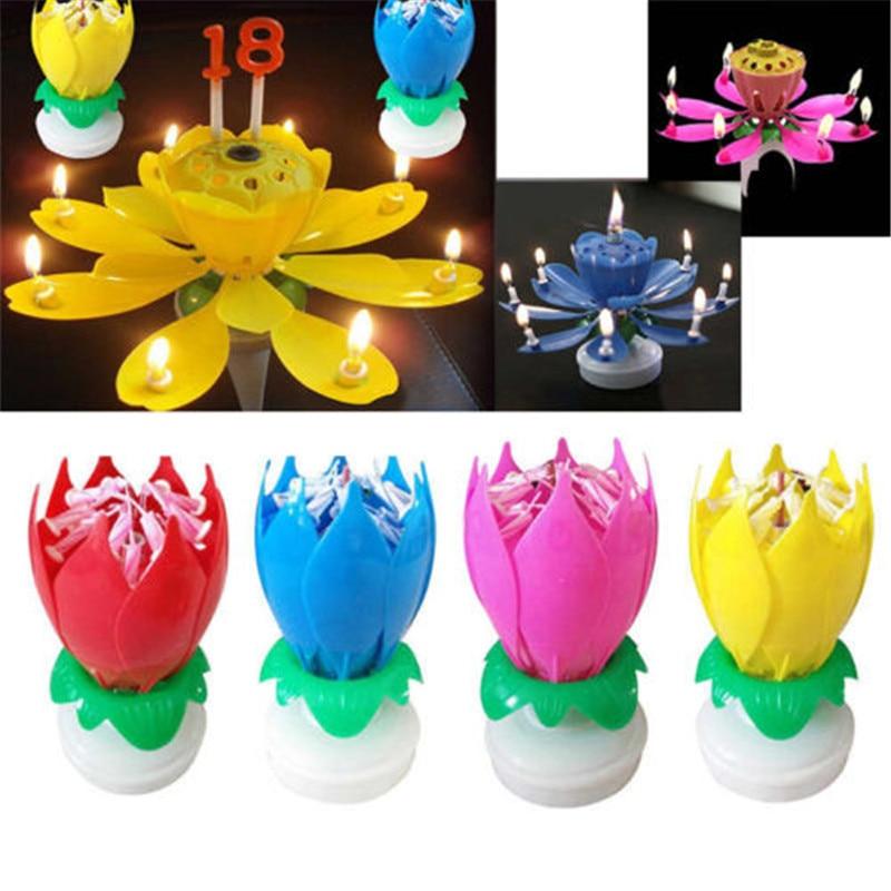 1 Stück Schöne Blüte Lotus Flower Candle Kuchen Musik Sparkle Kuchen Topper Rotierenden Kerzen Dekoration
