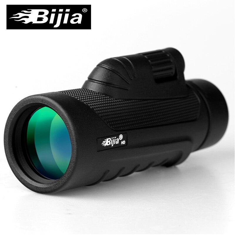 BIJIA 10x42 lente óptica de enfoque único de alta calidad Monocular antideslizante telescopio de bolsillo de caza