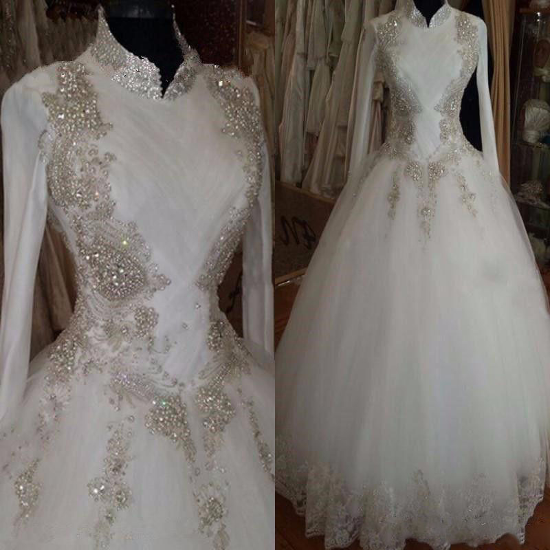 Modest bling muslim wedding dresses 2017 long sleeve floor for Bling wedding dresses 2017