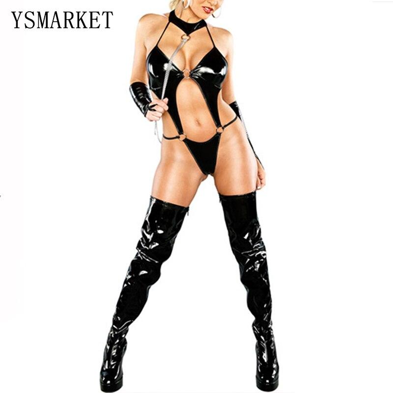 Sex Costumes For Women Pvc Dress Black Catsuit Erotic Lingerie Leather Bodysuit Jumpsuit Sexy Latex Catsuit Leotard Clothing