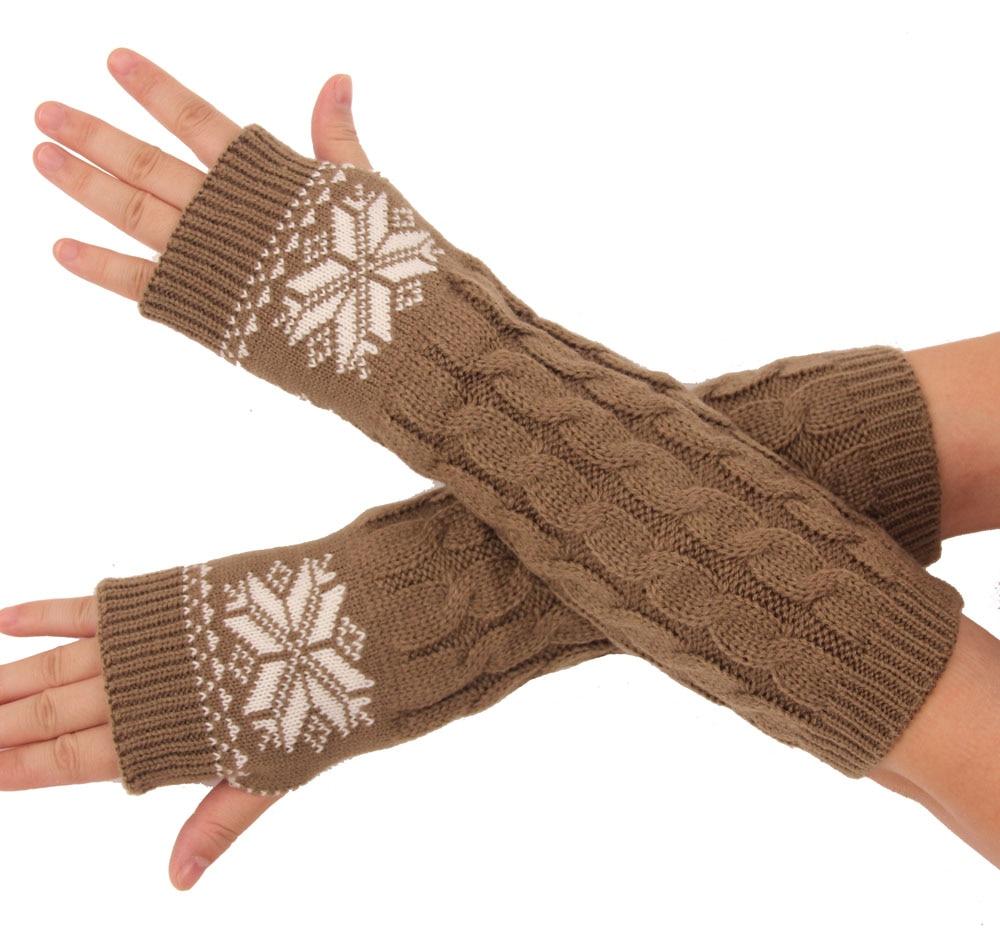 Mens gloves knitting pattern - Winter Long Stretch Crochet Knit Fingerless Mittens For Women And Men Arm Warmer Gloves Snowflake Pattern