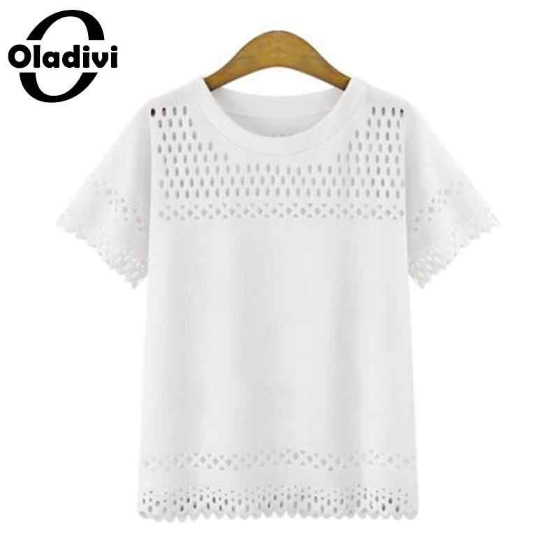 Oladivi プラスサイズの女性服 5XL 白黒シャツブラウス 2019 カジュアル女性半袖ポリエステル Blusa 女性の夏のトップ