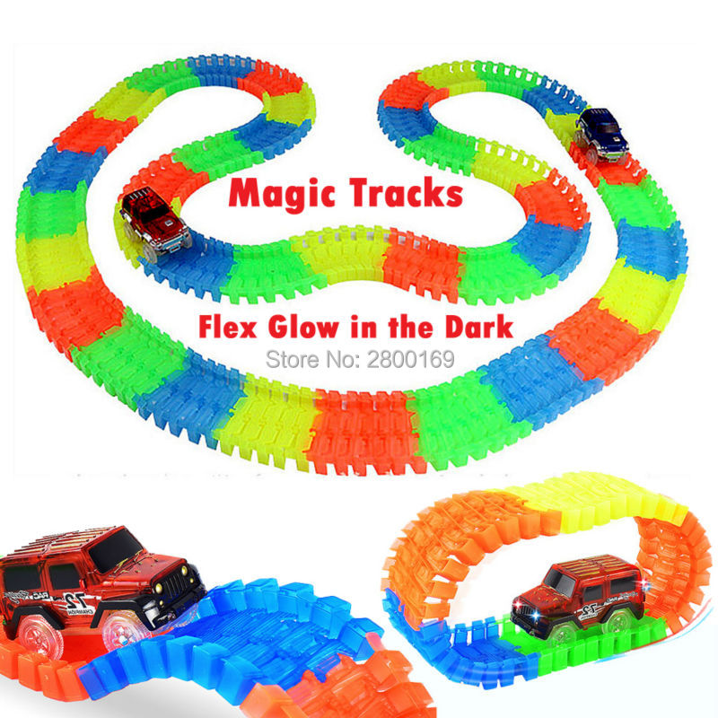 Roller Coaster Flashing Magic Tracks Bend Flex Glow in the Dark Assembly Toy Race Track  80/112/168/224pcs with 1pc LED  Car