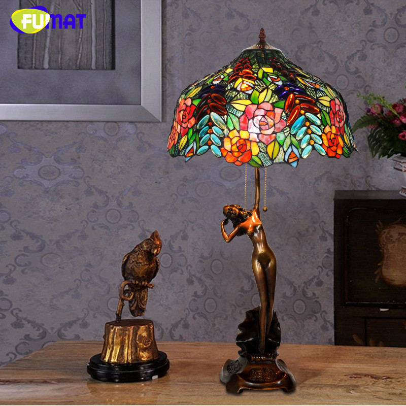 FUMAT Glas Tischlampe Wohnzimmer Nacht Qualitt Klassische Kupfer Goddness Stand Rose Trauben Glasmalerei Schatten Lampe