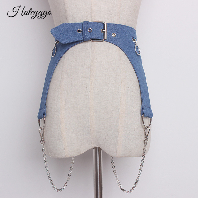 HATCYGGO Women Denim Waist Belt Corset Female Cummerbunds Metal Chain Detachable Cowboy Waistband For Dress Wide Waist Band