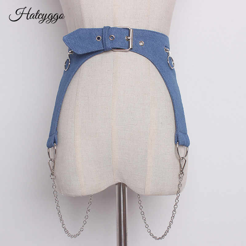 HATCYGGO женский джинсовый поясной корсет женские широкие пояса металлическая цепочка съемный ковбойский пояс для платья широкий пояс