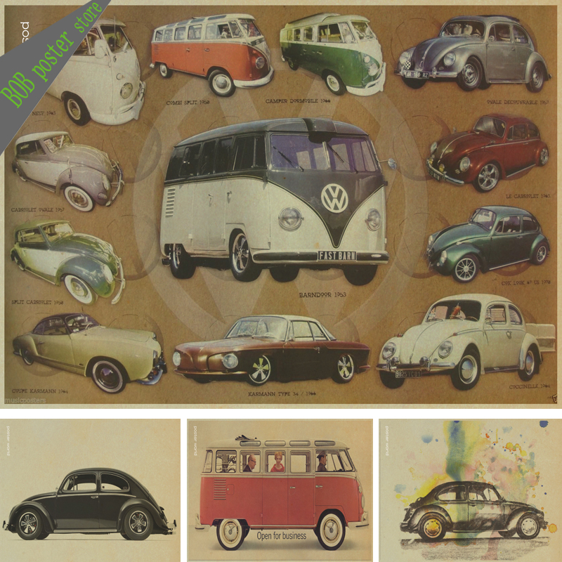 vintage classic volkswagen car vw type mini bus poster bar cafe home decor retro kraft paper. Black Bedroom Furniture Sets. Home Design Ideas