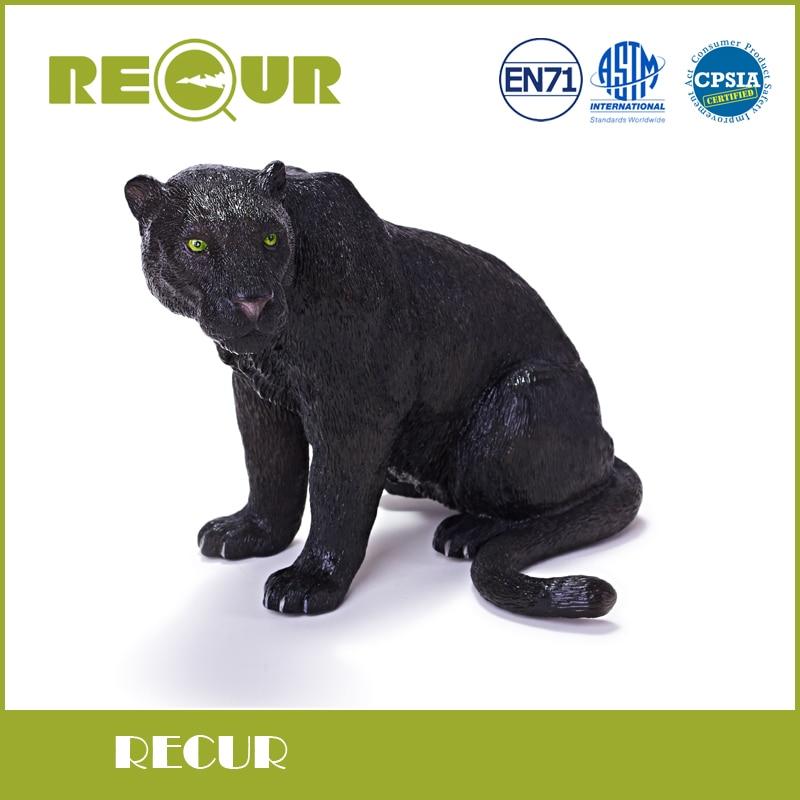 Повториться Игрушечные лошадки черные туфли высокого качества пантера моделирование модель ручная роспись мягкого ПВХ Фигурки диких живо…