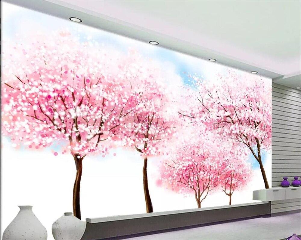 Beibehang Custom Wallpaper Beautiful Abstract Cherry Blossom Fresh