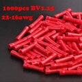 1000 шт. BV1.25 22-18AWG кабель сращивания встык Инструменты для наращивания волос прямой изолированный Провода приклад разъем электрические обжим...