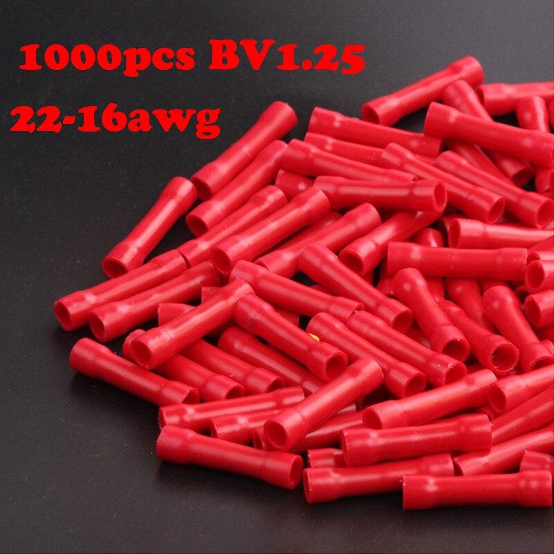 1000 Stücke BV1.25 22-18AWG Kabel Splice Butt Anschlüsse Isolierten Straight Wire Stoßverbinder Elektrische Crimpverbinder 22-16awg