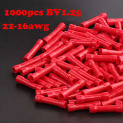 1000pcs BV1.25  22-18AWG Cable Splice Butt Connectors Insulated Straight Wire Butt Connector Electrical Crimp Terminals 22-16awg