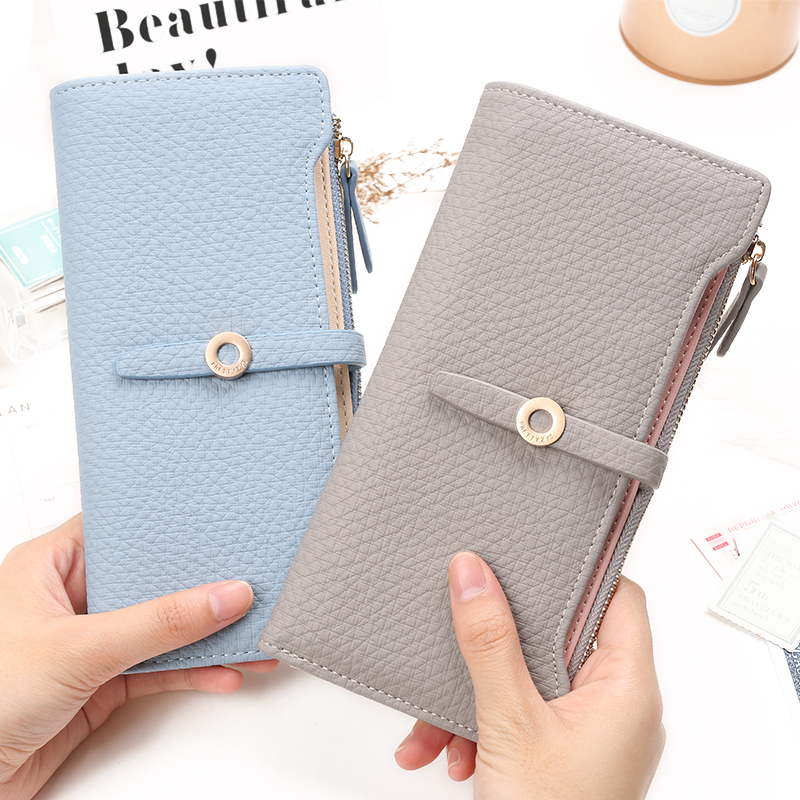 Top Quality Latest Lovely Leather Long Women Wallet Fashion Girls Change Clasp Purse Money Coin Card Holders wallets Carteras 1
