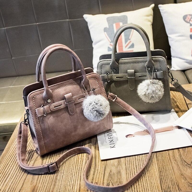 e7f47cae4fa5 US $17.87 7% OFF|Free shipping, 2019 new woman fashion handbags, trend  messenger bag, Korean version women bag, leisure hair ball ornaments  flap.-in ...