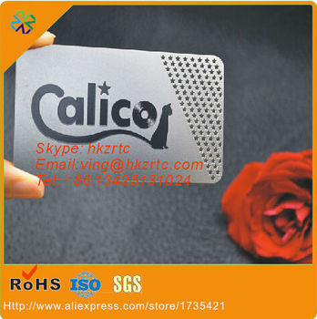 (200pcs/lot)free design custom size/logo/words hole punched 304 stainless steel material etched metal card