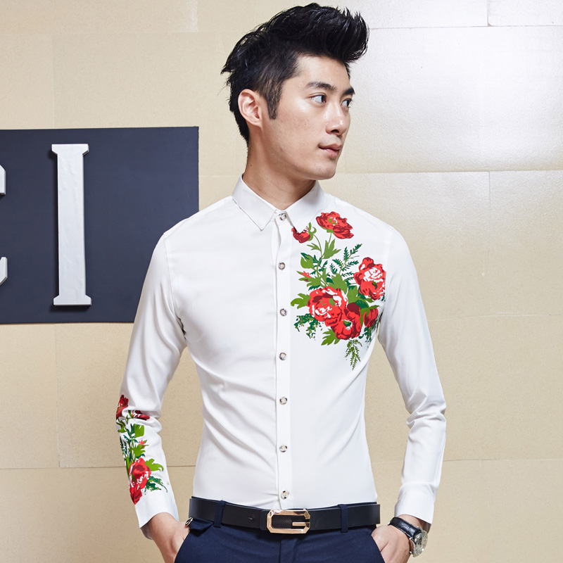 a77311ffc93 Men s Smart Funky Wildflower Pattern Dress Shirts Slim Fit Casual Business  Shirt-in Casual Shirts from Men s Clothing on Aliexpress.com