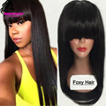 100% Virgin Brazilian Full Lace Human Hair Wigs With Bangs/Glueless Lace Front Wig 150 Density Full Lace Wig For Black Woman