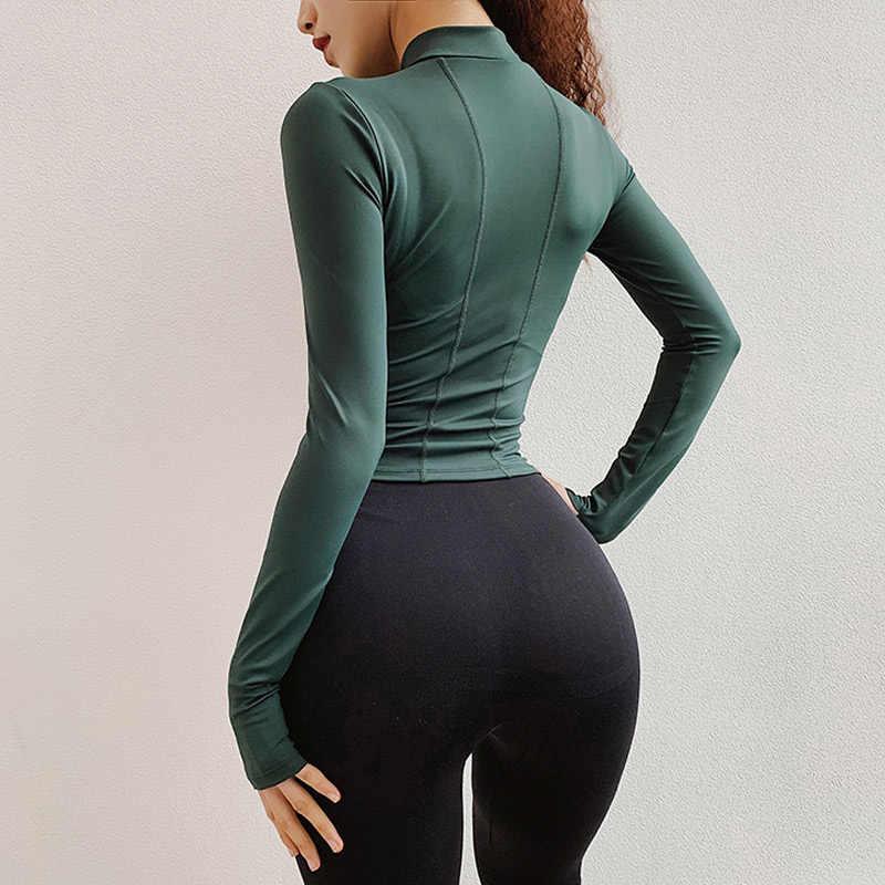 1/2 Zip Treino Tops Cultura para Mulheres Camisas de Manga Longa Yoga Workout Tee Camisa Running Ginásio de Esportes do Revestimento da Pista T camisa Camisola