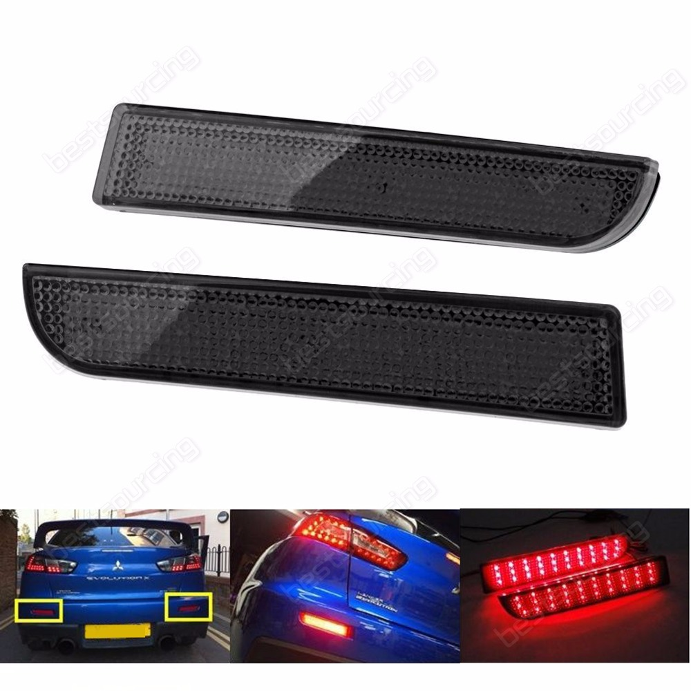 ANGRONG Black Lens Red <font><b>LED</b></font> Rear Bumper Reflector Brake Light For <font><b>Mitsubishi</b></font> <font><b>Lancer</b></font> EVO <font><b>X</b></font> RVR & Outlander Sport / RVR /ASX(CA176) image