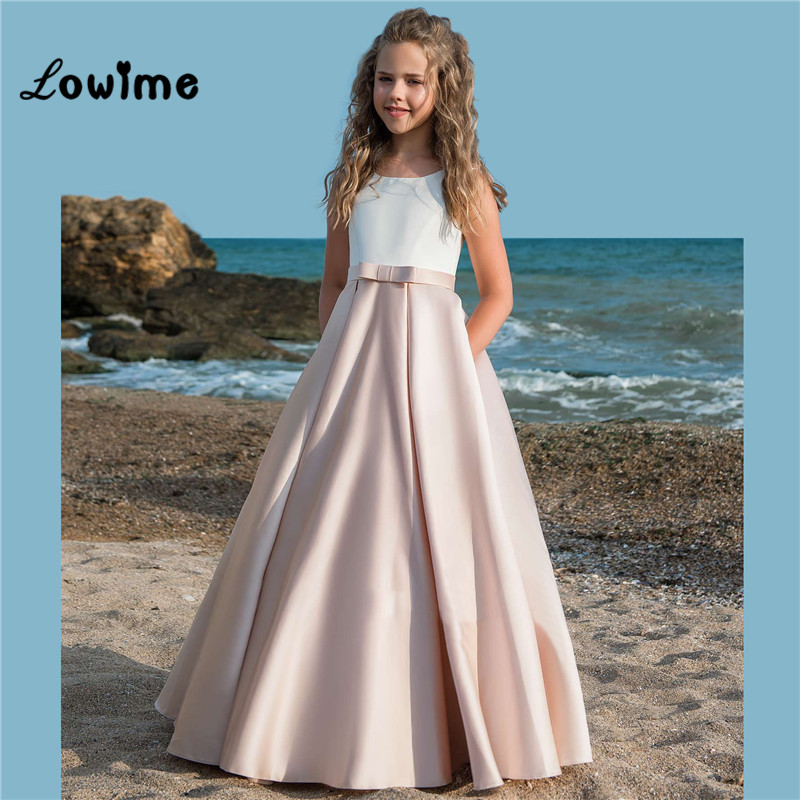Children Flower Girl Dresses Satin First Communion Dresses For Girls 2018 Party Communion Dress Pageant Gowns 2018
