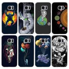 H252 Space Love Moon Astronaut Transparent Hard PC Case Cover For Samsung Galaxy S Note 3 4 5 6 7 8 9 Edge Plus