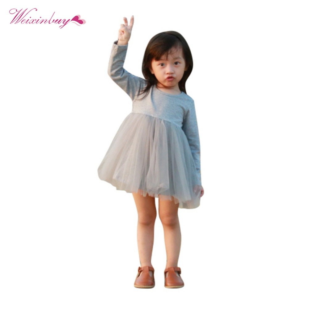 WEIXINBUY Kids Girls Princess Dresses Infant Dress Newborn Girls Clothes Baby Cotton Long Sleeve Clothing 0-4 Years kids girls birthday dresses infant dress newborn girls baby cotton long sleeve clothing 0 4 years