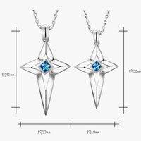 Синий S925 серебро любителей кросс ожерелье кулон серебряные ювелирные изделия
