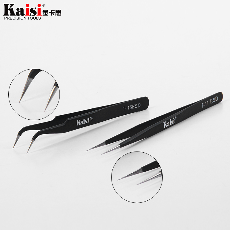 New Anti-static Tweezers Excellent Quality Tweezers Bend+Straight New Stainless Steel Industrial Anti-static Tools