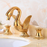 Gold Color Three Hole 3 PCS Widespread Swan Bathroom Faucet Mixer Tap Lavatory Brass Golden Basin faucet Cold Hot Water tap