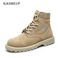 RASMEUP Plus Size 35 44 Genuine Leather Martin Boots Women 2018 Autumn Women Military Boots Shoes Woman Lace Up Motocross Boots