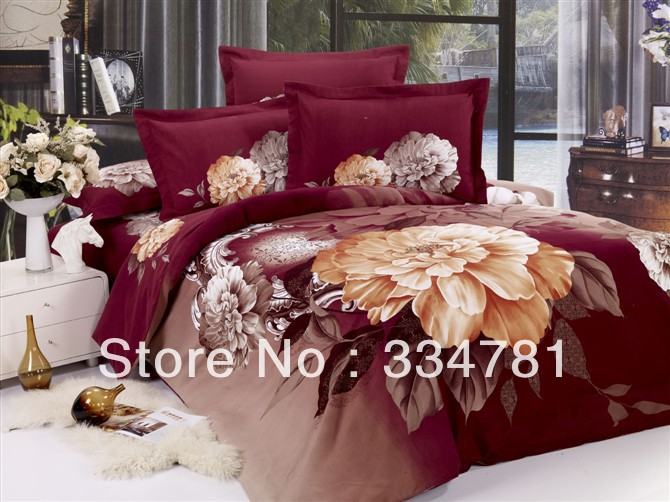 Hot Beautiful 100% Cotton 4pc Doona Duvet QUILT Cover Set bedding set Full / Queen King size colorful red flowers O95 - jiagen chen's store